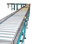 Plant end of line with motorized and free roller conveyors light blue