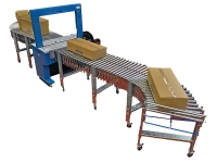 Line strapping with extensible roller conveyors and automatic strapping machine