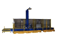 Automatic pallet wrapping line, with wrapping machine and motorized rollers