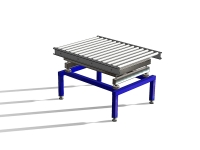 Roller conveyor on the weighing scale, with blue color painted steel banquet