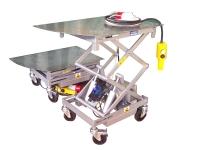 Una piattaforma di piccole dimensioni di colore grigio, con sollevamento elettropneumatico