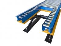 Un elevatore pneumatico con rulliera motorizzata per prelievo con transpallet