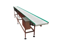 Stainless steel conveyor belt, 4 meters long, with modular intralox chain of white color