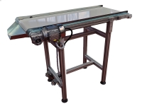 A wide conveyor belt 500 mm, with a smooth white carpet and side-removable sides