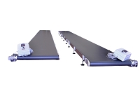 Two conveyor belts 9 meters long, with carpet in black PVC, complete with electrical panel.