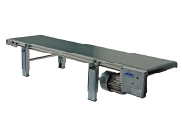 A wide conveyor belt 300 mm, with a smooth green carpet and motor positioned under tape