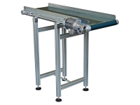 A wide conveyor belt 500 mm, with a smooth greeen carpet color and side-removable sides