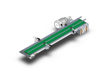A ribbon of thin type conveyor, with green PVC mat