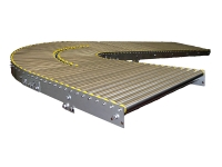 A roller conveyor 90 degrees, with straight section stainless steel with rollers