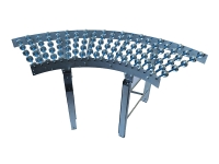 A roller unit curve 90 degrees, with wheels made of galvanized steel, galvanized steel structure