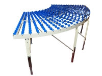A roller unit curve 90 degrees, with casters blue plastic, structure in white painted steel