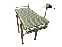 Una rulliera lineare a rulli, completamente in acciaio inox, con accessorio per abbattimento ultimo rullo