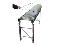Linear gravity roller conveyor, galvanized steel with rollers, complete with an accessory for tilting of coils