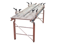 Linear gravity roller conveyor, made of galvanized steel with rollers, complete with banks adjustable in width