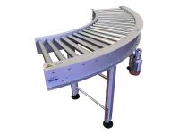 Rulliera curva motorizzata a 90 gradi, a rulli conici in acciaio zincato