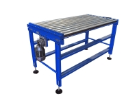 A blue motorized roller conveyor with galvanized steel rollers