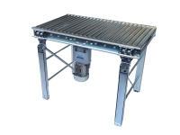 A motorized roller in galvanized steel, with flat-belt drive, zinc plated steel rollers