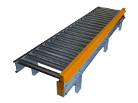A roller conveyor with friction rollers in galvanized steel, with fixed side yellow