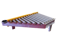 An inclined motorized roller at 45 degrees, with galvanized steel rollers